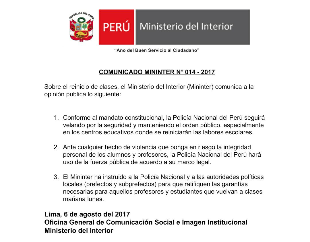 El comunicado del ministerio del interior ante huelga de for Ministerio del interior bs as